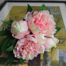 Artificial Rose Flowers Peony Bouquet Hands Holding Silk Flower Bridal Bridesmaid Bouquet Latex Real Touch Floral Wedding Party