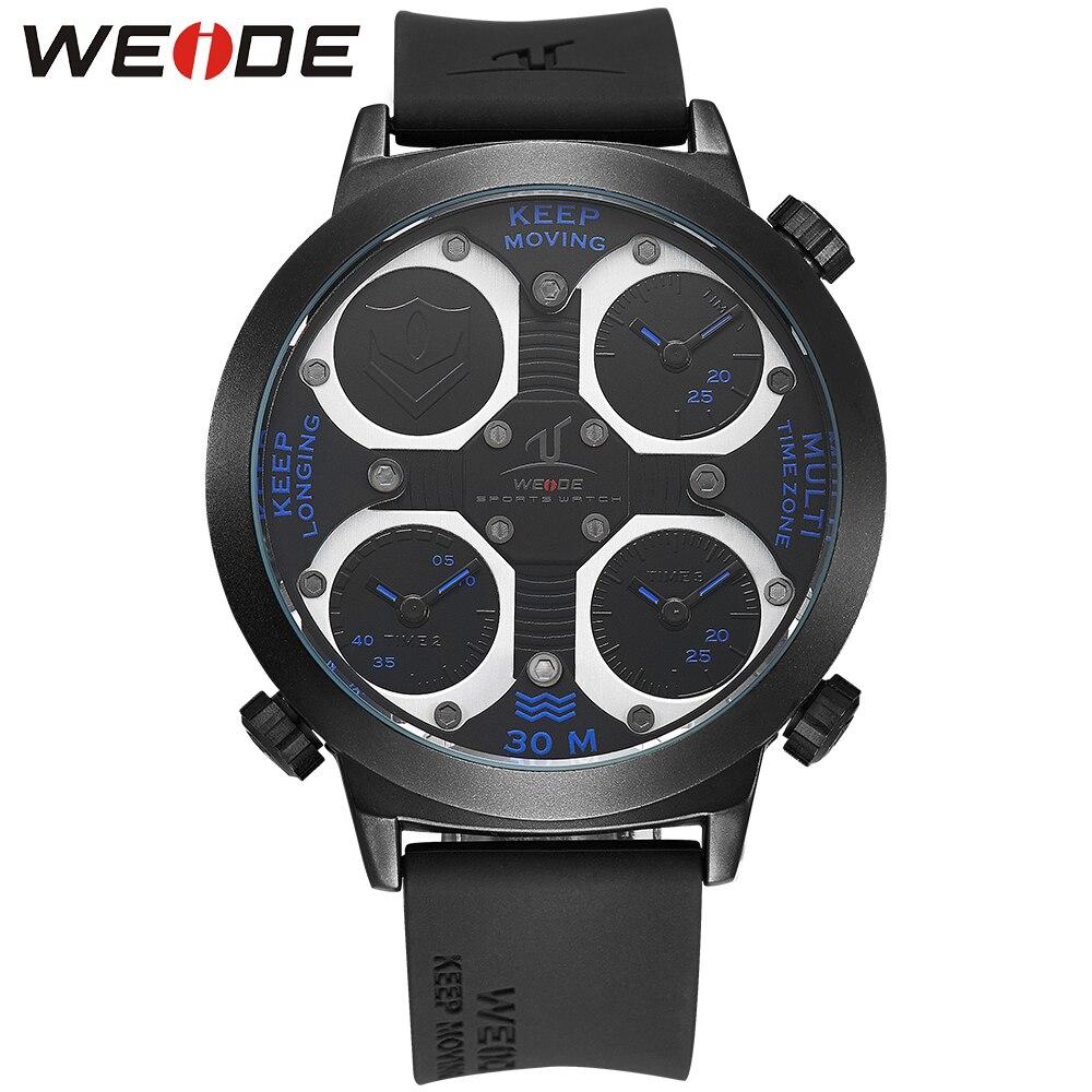 WEIDE Brand Sport Watch Men Relogio Silicone Band Three Time Zones Casual Male Clock Blue Military Quartz Waterproof Wristwatch<br>