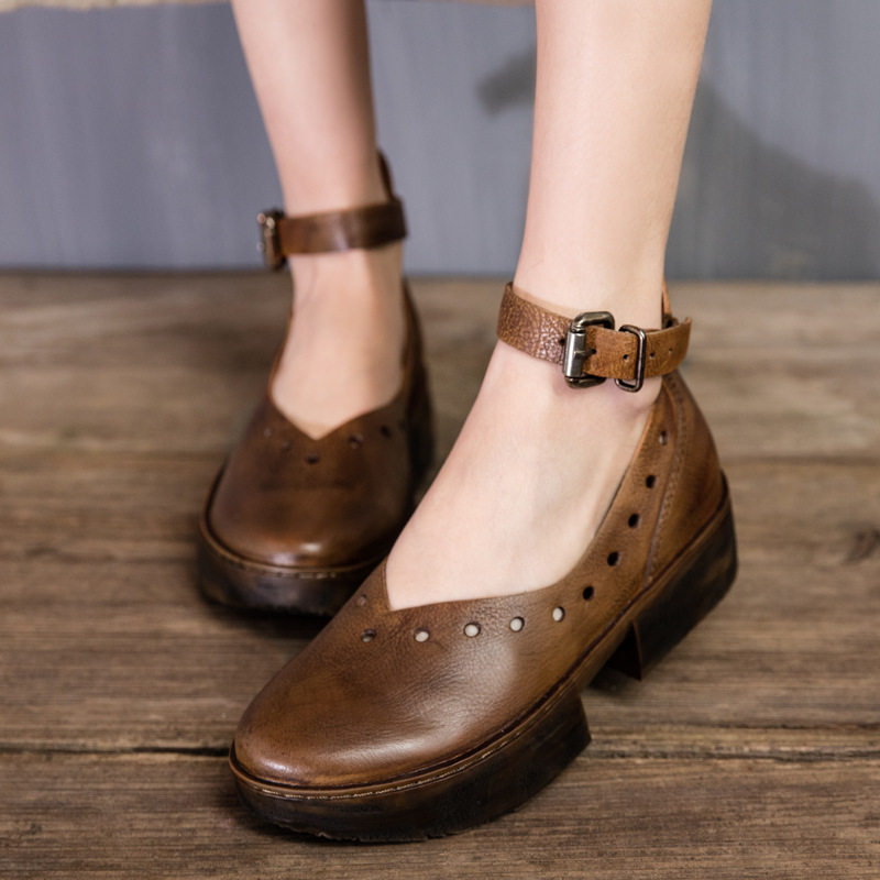 Genuine Leather Shoes Brush Color Vintage Handmade Women Shoes 2017 New Spring and Summer Low Strappy Shoes T1645-8<br><br>Aliexpress