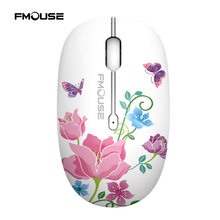 FMOUSE M101 Painted Silent Mouse Mute Mice USB 2.4GHz Wireless Optical Gaming Mouse Cute Mice for Computer PC Laptop