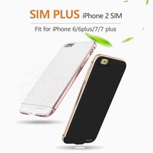 2017 Dual SIM Dual Standby Adaper Long Standby 7days for iPhone 7/7 plus Ultrathin Metal frame with 1500/2300 mAh Power Bank