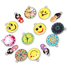 2017 New Janpanese Doll Round Clock Smile Round Zinc Alloy 1.5mm 2mm For DIY Jewelry Finding Making Spacer Necklace Pendant