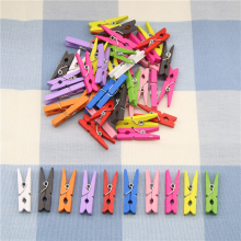 10 Pcs Random Mini Colored Spring Wood Clips Clothes Photo Paper Peg Pin Clothespin Craft Clips Party Decoration(China)