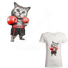 2017 new iron on patches Boxing cat 28*16.5 cm DIY patch on clothes thermal transfer Printed(China)