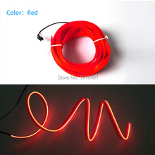 Promotion!2Meters Red Diameter 2.3mm Blink EL Cold Light Led Neon Strip as Carnival Party Accessory with Skirt without Converter(China)