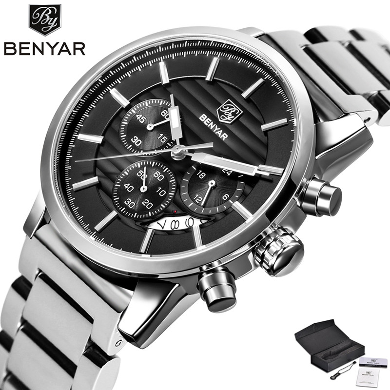 BENYAR High Quality Fashion Mens Quartz Wristwatch Date Chronograph 5 Colors Design Dial Stainless Steel Clasp Cool Sport Watch<br>