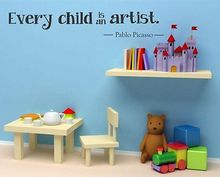 Every Child Is An Artist English Pablo Picasso Letter Wall Stickers Quote Decal Vinyl Sticker Cute Children Baby art Room Decor