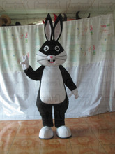 fat white and black rabbit mascot costumes hoe sale cartoon bunny costumes EVA head export quality mascot costumes