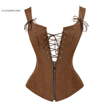 Charmian Corset Sexy Back-Vest Lace-Up Brown Overbust Faux-Leather Zipper Women Espartilhos