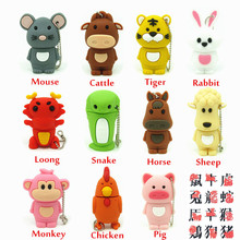 Chinese Zodiac usb flash drive disk animal green snake/chicken/rabbit/horse/monkey memory stick pendrive Pen drive 8GB 16GB 32GB