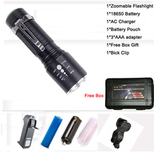 Buy MINI flashlight CREE XM-L T6 LED torch Aluminum waterproof Bike light zoomable Led bicycle light 18650 3* AAA clip for $4.39 in AliExpress store