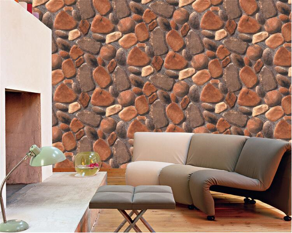 beibehang Simulation fashion cobble stone wall paper 3D Culture Cafe Background billiards room papel de parede 3d wallpaper<br>
