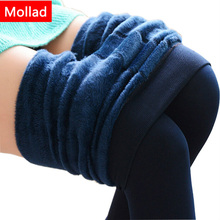 Mollad 2017 NEW plus cashmere fashion leggings women girls Warm Winter Bright Velvet Knitted Thick Legging Super Elastic Pants(China)