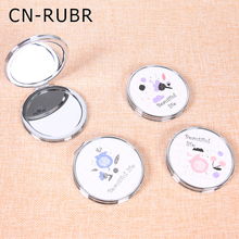 CN-RUBR Small Flower Round Mirror Stylish Compact Make-up Hand Mirror for Girl Portable Pocket Cosmetic Mirror Tools Accessories
