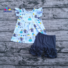 Hot sale personalized dumbo dress set ruffle pearl sleeves design icing ruffle shorts baby girl summer outfits(China)