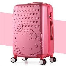 Fashion Women Girls Hello Kitty Rolling Luggage/Children Cartoon Candy Color ABS Trolley Suitcase/Kids KT Travel Bag On Wheels