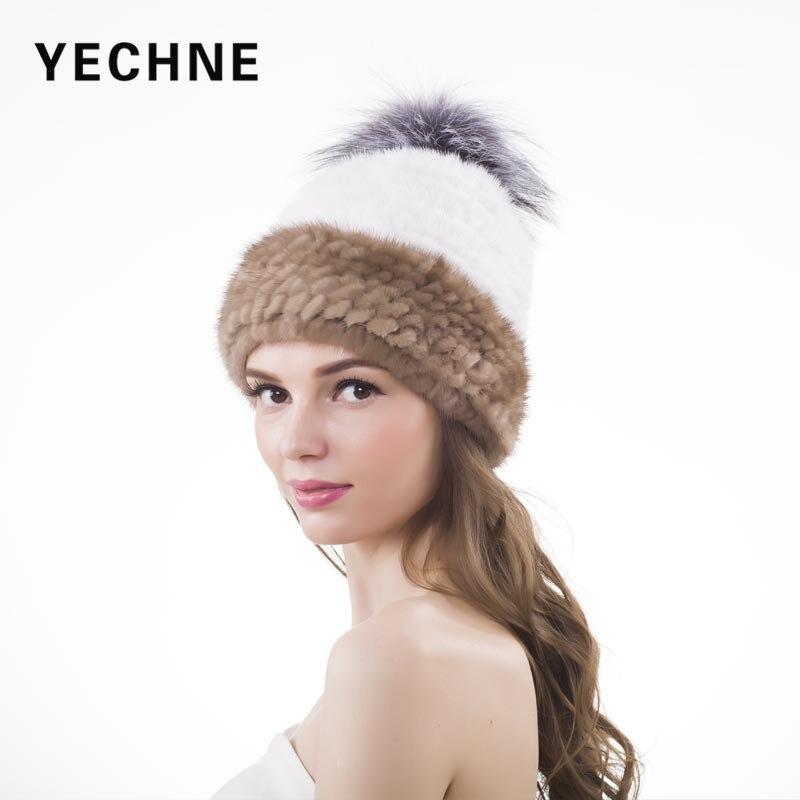 Mink Knitted Fur Skullies Hats Fox Fur Pompom Thick Hat Russian Beanie Warm Casual Caps Fashion Fur Ball Winter Women CapÎäåæäà è àêñåññóàðû<br><br>