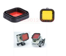 New 2In1 Yellow & Red color polarizer UV lens filter for mini camcorder GoPro hero 3+ Hero 4 Diving filter