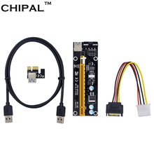 CHIPAL 100CM PCI Express 1x to 16x Riser Card Adapter PCI-E Extender +15Pin Sata to 4Pin IDE Molex Power Supply / USB 3.0 Cable(China)