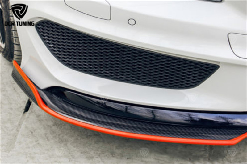 Carbon Fiber Front Splitter With Red Line For Mercedes - Benz CLA Class W117 CLA250 CLA260 CLA45 AMG(2) -