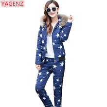 YAGENZ Womens Cotton Suite Winter Women Clothing Keep Warm Printing Camouflage 2 Piece Set Fur collar Hooded Tops+Long Pants 578(China)