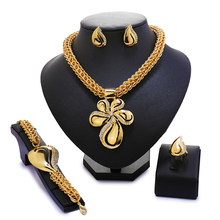 2017 Fashion Classic Design African Pure gold -color Necklace Set Crystal Bridal Wedding Jewelry Set Dubai Luxury Jewellery Set(China)
