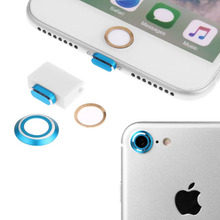 Metal Home Button Protector Circle Sticker Lightning Charging Port Anti Dust Plug Rear Camera Lens Cover For iPhone 7 4.7 Inch
