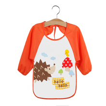 Baby Feeding Bibs Waterproof Smock Bib Cartoon Long Sleeve Toddler Kids Burp Cloths Children Dinner Eating Accessory 1-3Year Old(China)
