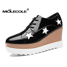 Free shipping ! size 35 - 39 /wedge heel 8 cm / MOOLECOLE shining leather women's Platform casual shoes / color red , black(China)