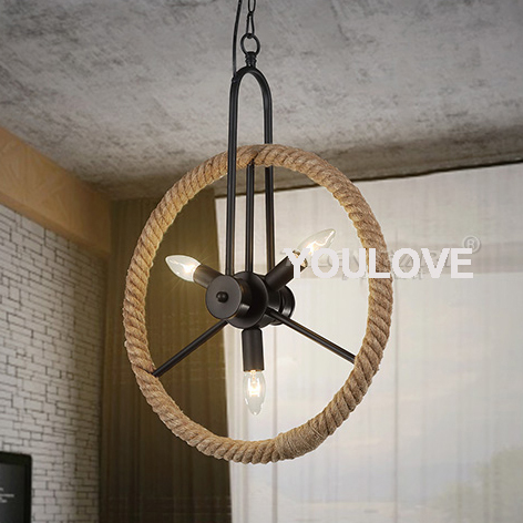 Round Wheel Pendant Lamp American Country Pendant Lights Fixture Home Indoor Lighting Hemp Rope Dining Room Cafes Pub Bar Light<br><br>Aliexpress