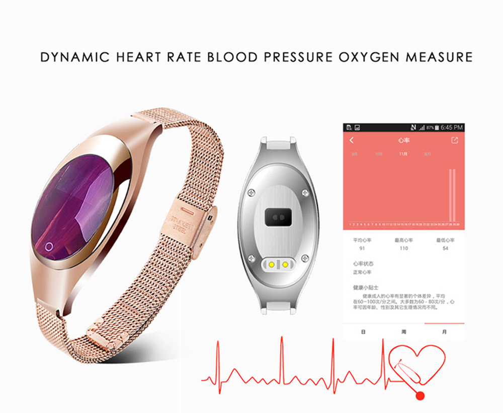 Smart Wristband Z18 Women Bluetooth Bracelet Blood Pressure Oxygen Heart Rate Monitor Pedometer Fitness Tracker For Android iOS 2
