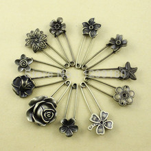 11pcs/lot Alloy Antique Brass Vintage Flower Brooch Safety Pins For Garment Accessories Scarf Clip pins Approx:54-57mm (K01934)(China)