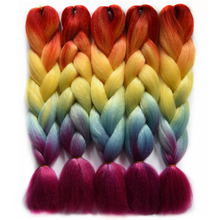"Chorliss 24""Ombre Braiding Hair Straight Crochet Braids Rainbow Color Jumbo  Synthetic Crochet Hair Extension 100g/pack"