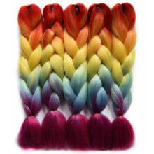 "Chorliss 24"" Ombre Braiding Hair Crochet Braids Rainbow Color Jumbo Braids Synthetic Crochet Hair Extension 100g/pack 1pc(China)"