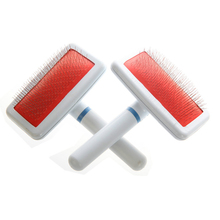 Red Puppy Cat Hair Grooming Slicker Comb Brush Quick Clean Tool Pet Supplier For Dog Cat
