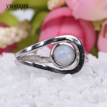 ywospx Created Fashion Fire Opal rings For Women Silver Color Promise Jewelry White Opal Simple Wedding Ring Y40(China)