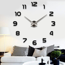 Silver pointer new sale wall clock clocks reloj de pared watch 3d diy Acrylic mirror Stickers Quartz Modern Home Decoration(China)