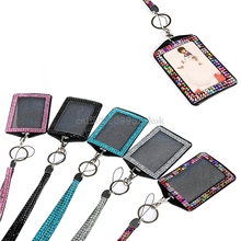 Rhinestone business card holder promotion shop for promotional rhinestone retractable business id badge lanyard name tag key photo card holder belt clip necklace new colourmoves Image collections
