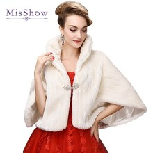 MisShow New Bridal Boleros Faux Fur Bridal Wedding Accessories 2017 Jacket Bridal Winter Warm Bride Wrap Shawl Cape Short Coat(China)