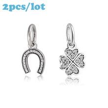 Lucky C & Clover Charms Fits European Charms Bracelets & Necklaces Original Authentic Genuine 100% 925 Sterling Silver Wholesale