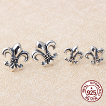 Fashionable seiko replica jewelry 925 vintage Thai silver cross paragraphs CH stars do old stud earrings(China)