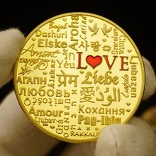 Love Coins Valentine's Day Golden Souvenir Coins With Round Box Lover Gift Greek, Arabic, French, Korean, Philippines Words(China)