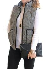 Big Pocket Autumn Winter Sleeveless Women Cotton Casual Ladies Jackets Black denim Herringbone Vest Quilted Cotton Puffer Vest(China)