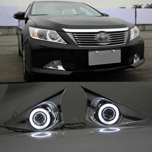 Super COB Fog Light Angel Eye Chrome Bumper Projector for Toyota Camry 2012<br><br>Aliexpress