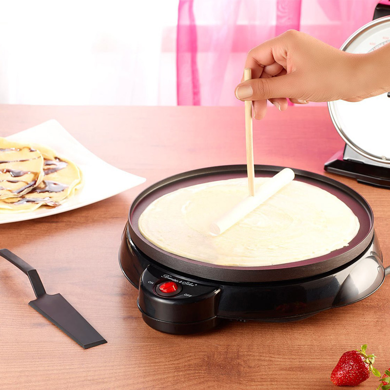 220V Non-stick Electric Crepe Pancake Maker Machine Multifunctional Pancake Baking Pan Household Pizza Maker EU/AU/UK/US Plug<br>