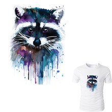 Colife Raccoon Patches T-shirt Press Sticker 23.5*17 cm A-level Washable Iron On Patches For T-shirt Dresses Decoration(China)