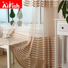 Modern Brief Mesh Curtain Fabric Classic Stripe Custom Ready Made Curtains Tulle Windows Curtain For Living Room AP020-30