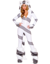 2016 Furry Animal Costume Pretty Kitty Catsuit Women Halloween Costumes Sexy Animal Costume .Including Gloves and leg warmers.(China)