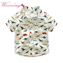 Buy 2017 Summer Baby Boys Shirt Cute Dinosaur Casual Cartoon Wild Short-Sleeved Clothes Children's Clothing for $5.76 in AliExpress store