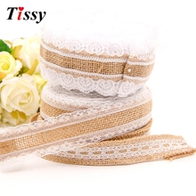 Buy 5M Jute Burlap Hessian Ribbon White Lace Ribbons Sewing Lace DIY Crafts Home Decor Birthday/Wedding Party Decoration Supplies for $2.75 in AliExpress store